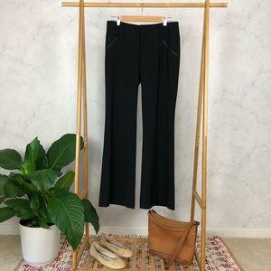 Alice + Olivia Black Leather Trim Mid Rise Trouser